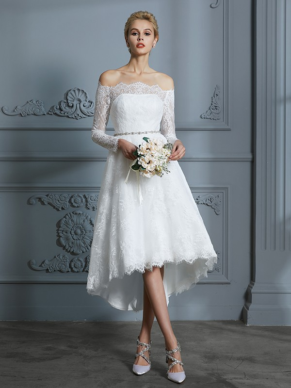 Asymmetrical Ivory Long Sleeves Off-the-Shoulder Wedding Dresses with Lace