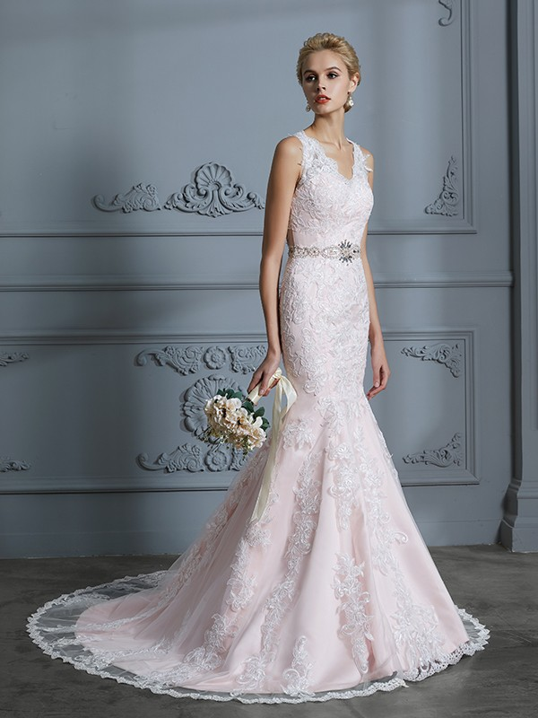 Mermaid V-neck Court Train Pink Wedding Dresses with Applique