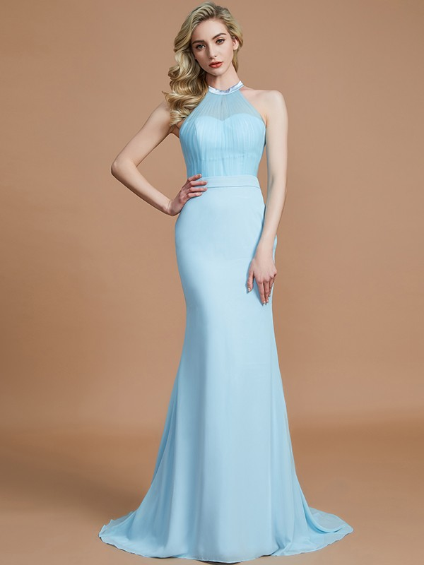 Brush Train Light Sky Blue Scoop Bridesmaid Dresses