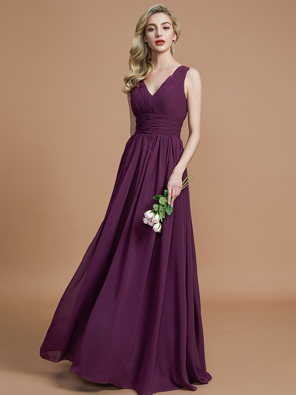 Chiffon A-Line Floor-Length V-neck Grape Bridesmaid Dresses