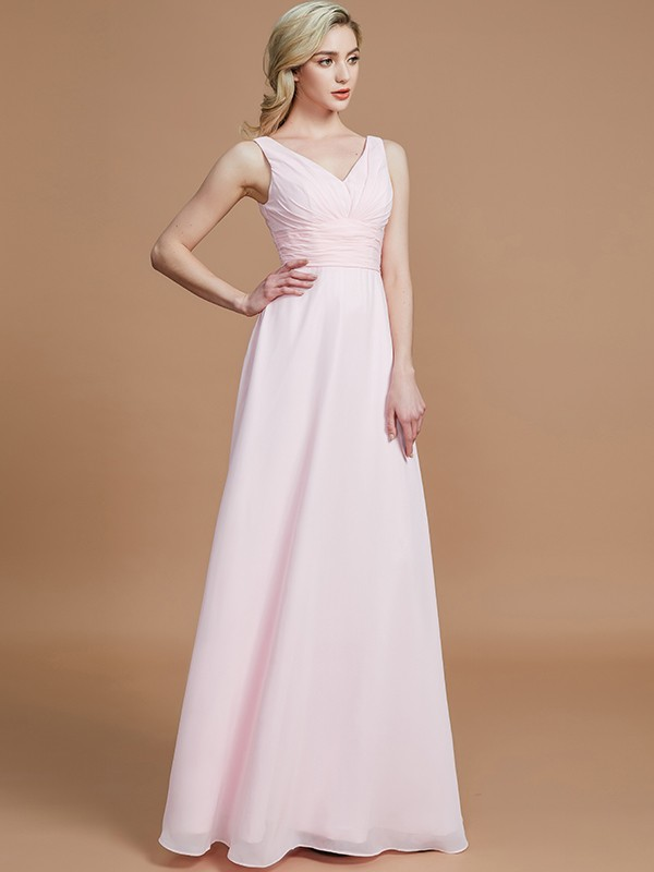 A-Line V-neck Floor-Length Pink Bridesmaid Dresses