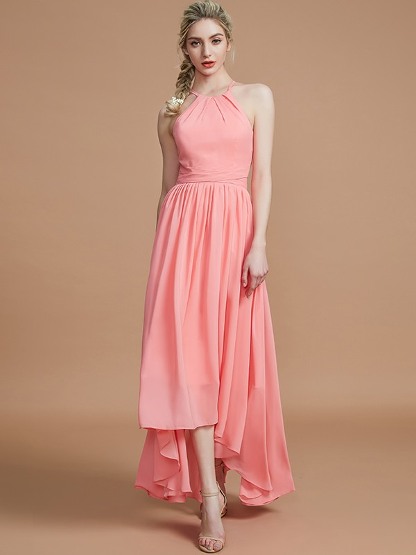 Asymmetrical Watermelon Halter Bridesmaid Dresses