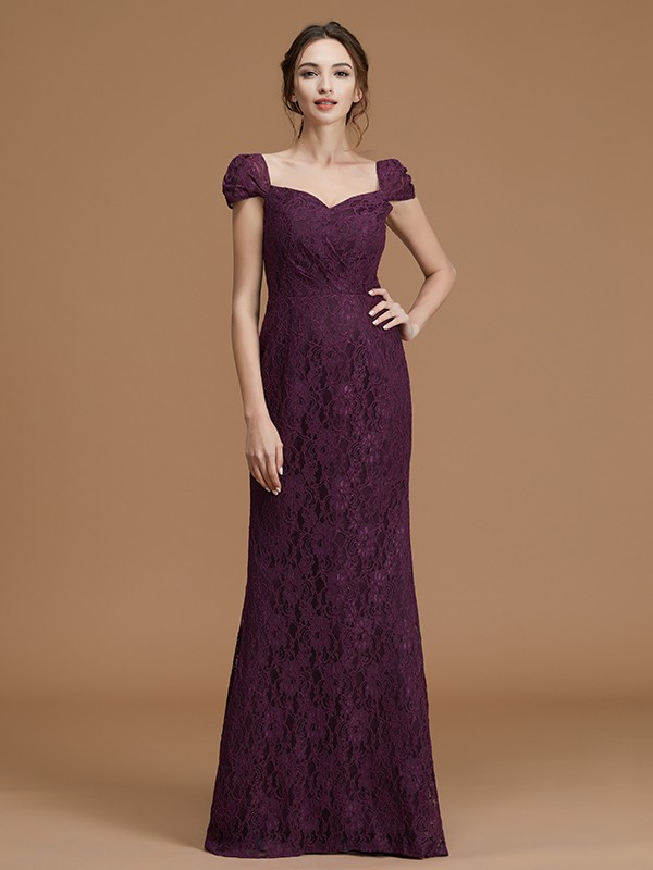 Satin Sweetheart Floor-Length Grape Bridesmaid Dresses