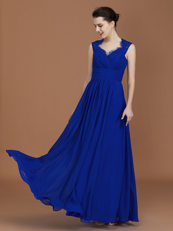A-Line Sweetheart Floor-Length Royal Blue Bridesmaid Dresses with Ruffles