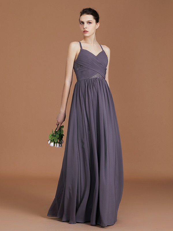 A-Line Spaghetti Straps Floor-Length Grey Bridesmaid Dresses