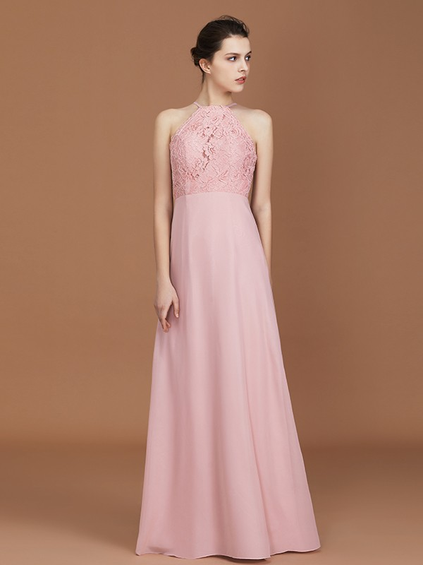 A-Line Halter Floor-Length Pearl Pink Bridesmaid Dresses with Lace