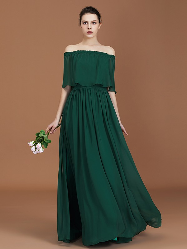 Floor-Length Dark Green Off-the-Shoulder Bridesmaid Dresses with Pleats