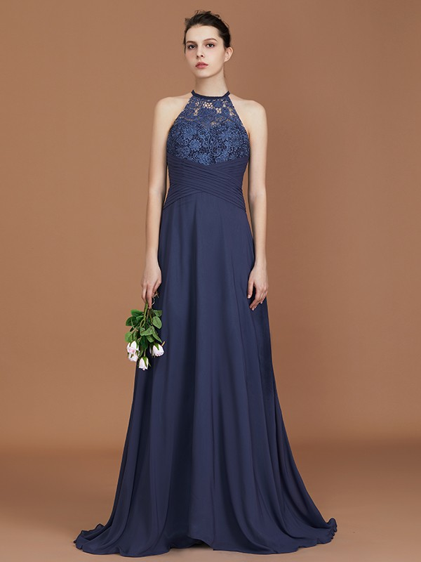 Chiffon A-Line Scoop Dark Navy Bridesmaid Dresses