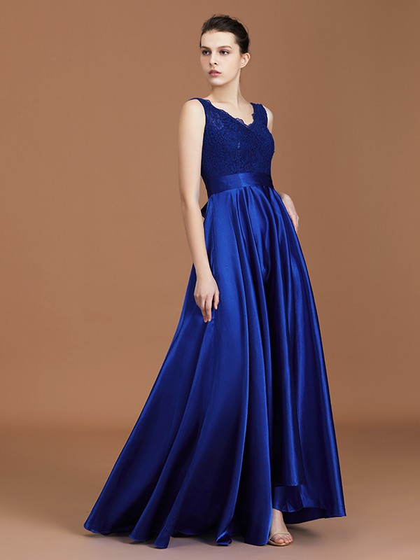 A-Line V-neck Asymmetrical Royal Blue Bridesmaid Dresses