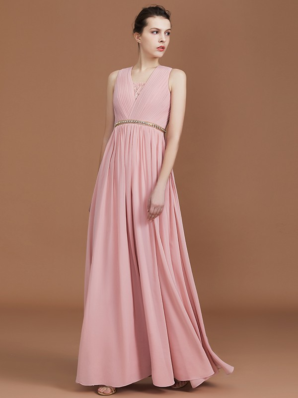 Lilac A-Line V-neck Floor-Length Bridesmaid Dresses with Ruched