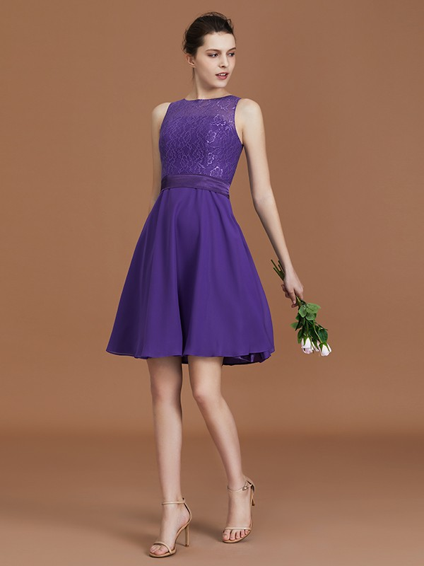 A-Line/Princess Lace Knee-Length Sleeveless Bateau Chiffon Bridesmaid Dresses
