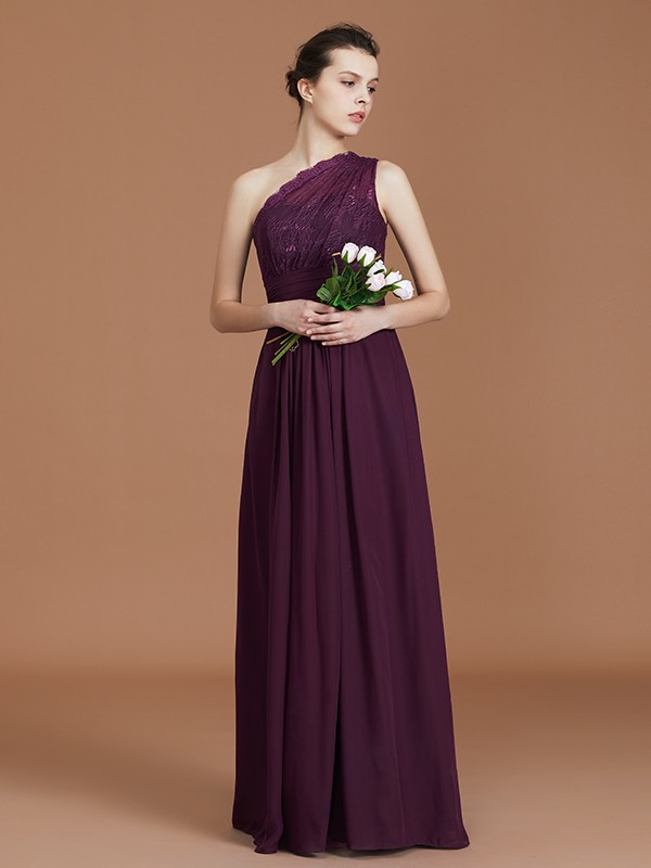 A-Line One-Shoulder Floor-Length Grape Bridesmaid Dresses with Lace