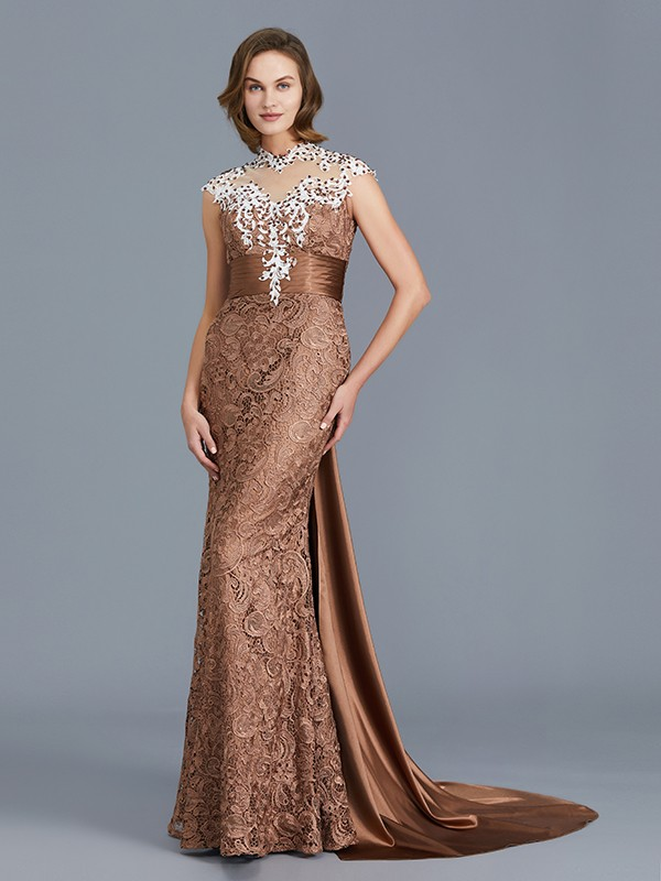 Mermaid Lace Scoop Floor-Length Mother of the Bride Dresses with Beading