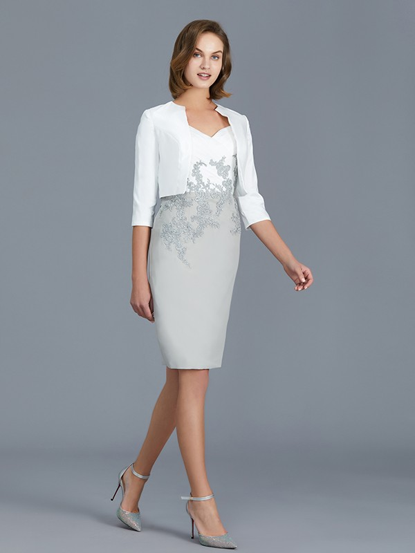 Silver V-neck Chiffon Knee-Length Mother of the Bride Dresses