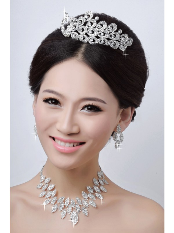 Fashion Alloy Clear Crystals Wedding Party Earrings Set