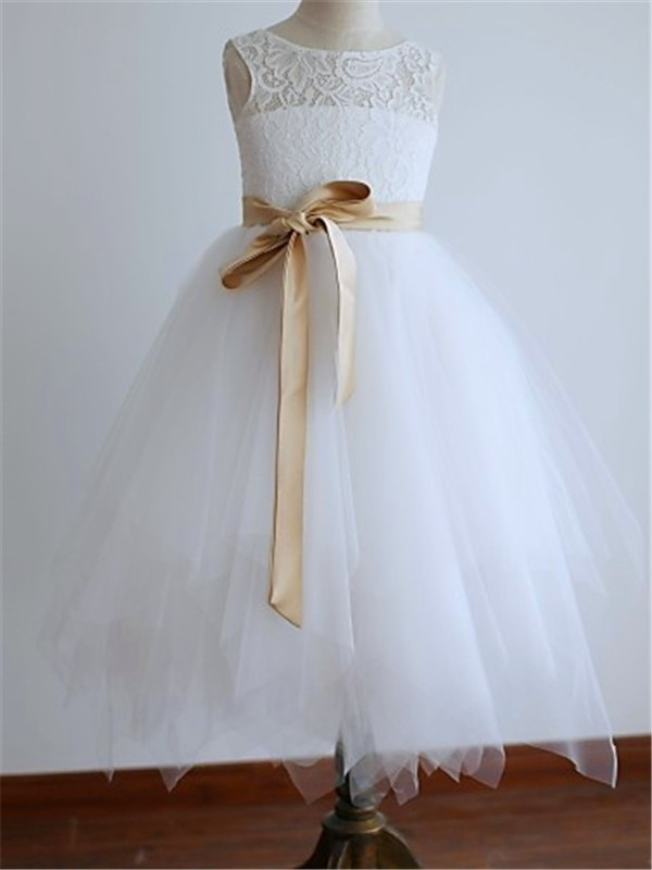 White Scoop Tea-Length Flower Girl Dresses with Sash/Ribbon/Belt