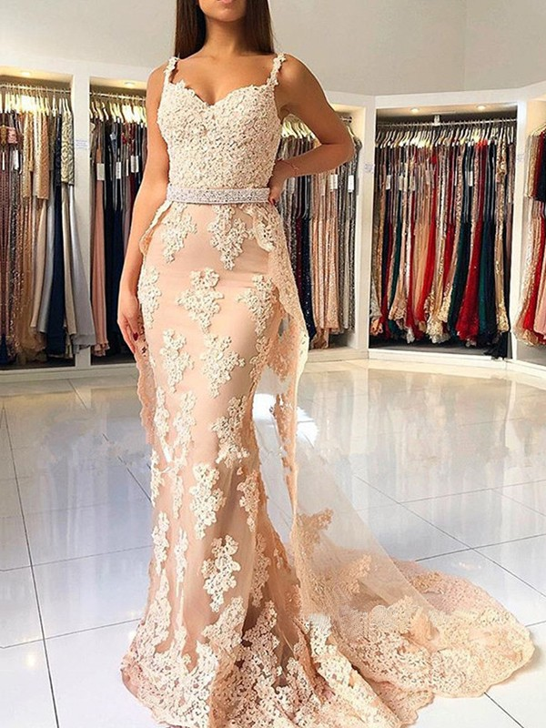 Mermaid Straps Champagne Brush Train Lace Tulle Prom Dresses