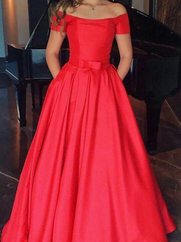 A-Line Red Floor-Length Ruffles Satin Prom Dresses