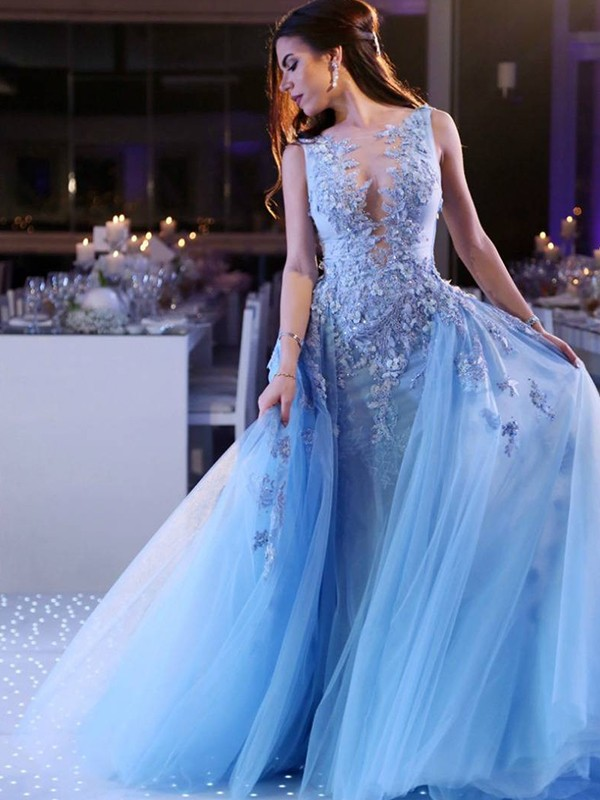 Ball Gown Blue Brush Train Tulle Prom Dresses
