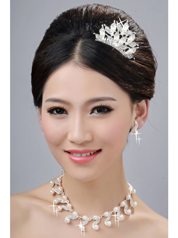 Glamorous Alloy Clear Crystals Wedding Party Earrings Set