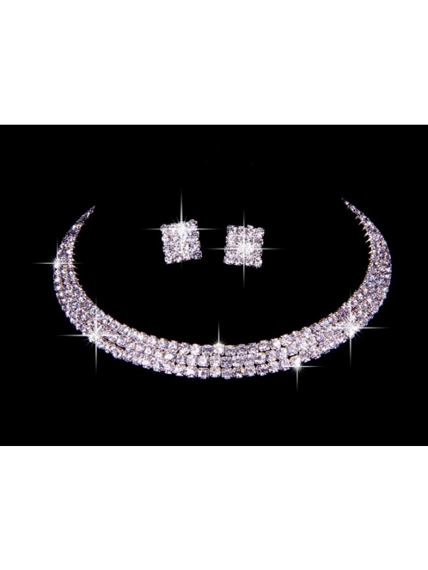 Great Czech Rhinestone Wedding Necklaces Earrings Set
