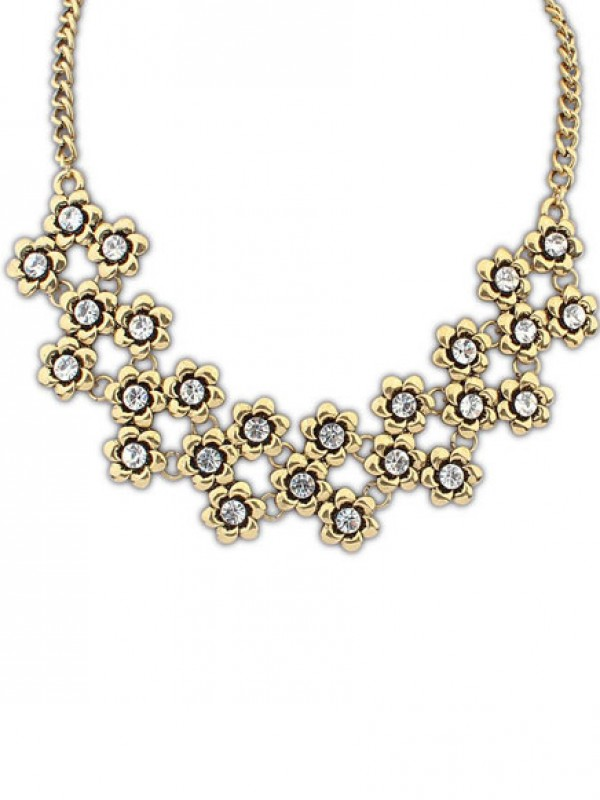 Occident Stylish Retro Metallic Plum flower Fashion Necklace
