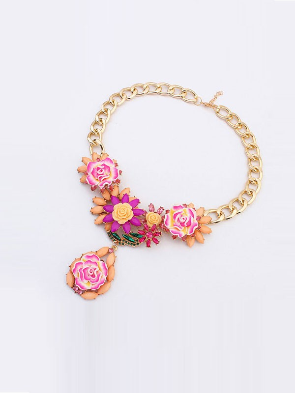 Occident Fashionable Retro Temperament Flowers Fashion Necklace