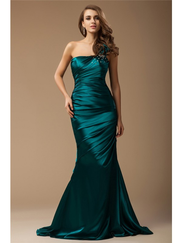 Mermaid One-Shoulder Brush Train Multi Colors Prom Dresses with Beading