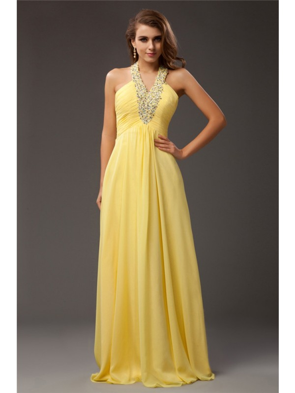Halter Floor-Length Yellow Prom Dresses with Beading