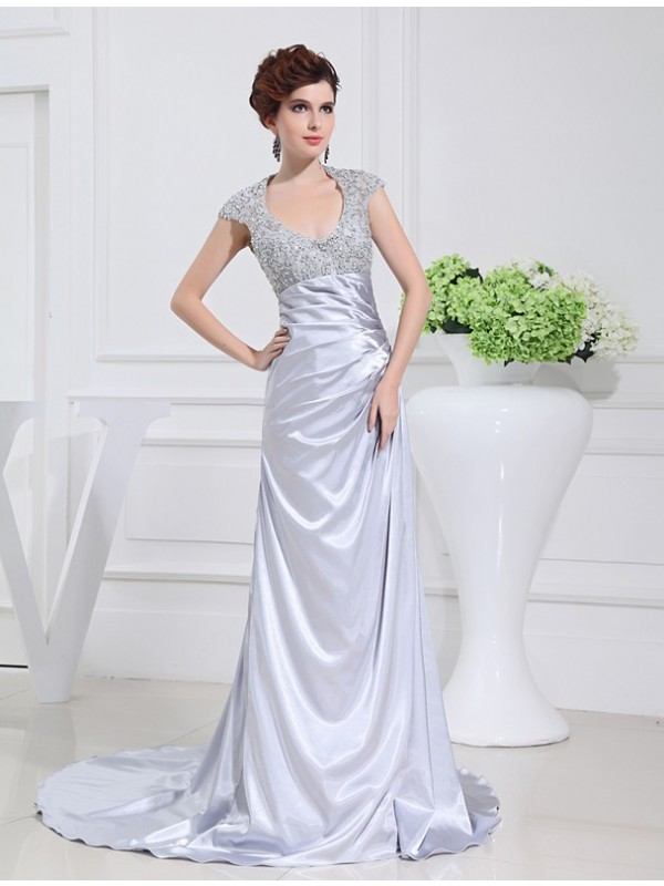 Silver Scoop Elastic Woven Satin Brush Train Prom Dresses