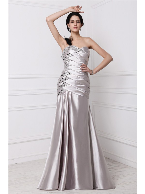 A-Line Sweetheart Floor-Length Silver Prom Dresses