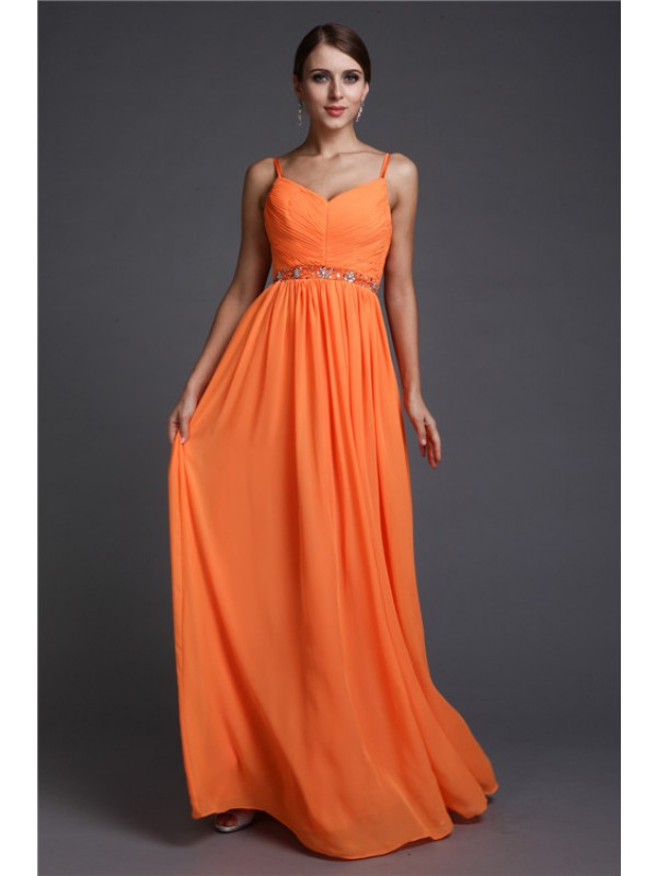 A-Line Chiffon Spaghetti Straps Floor-Length Orange Prom Dresses