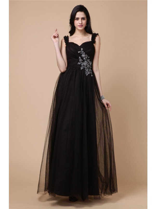 A-Line Straps Ankle-Length Black Prom Dresses