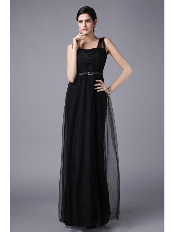 Sheath Straps Floor-Length Black Prom Dresses with Sash/Ribbon/Belt