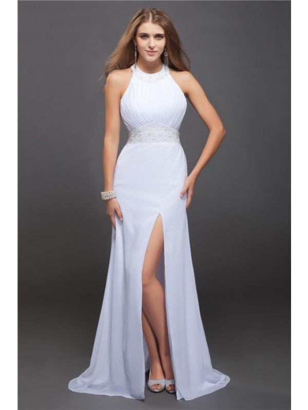 Floor-Length White Jewel Prom Dresses with Beading