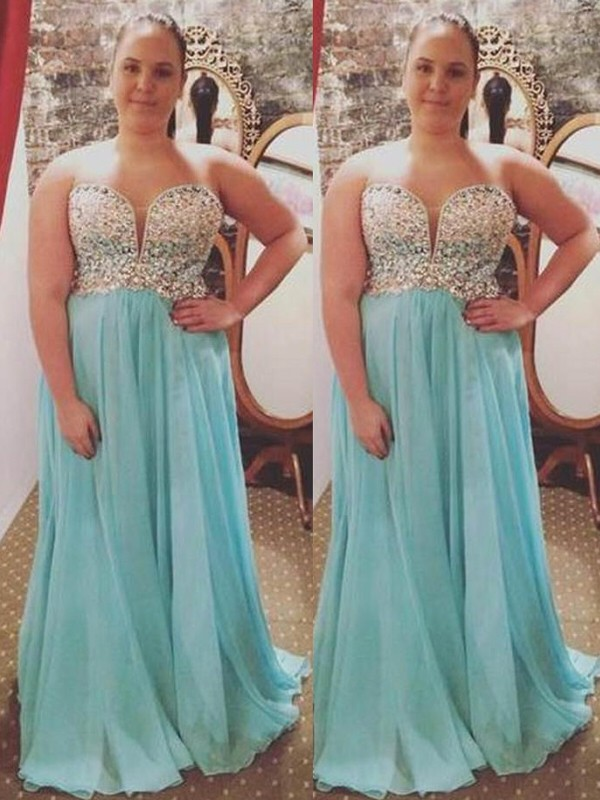 A-Line Sweetheart Brush Train Blue Prom Dresses