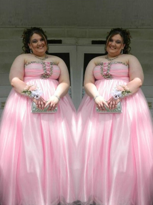 A-Line Satin Strapless Floor-Length Prom Dresses with Beading