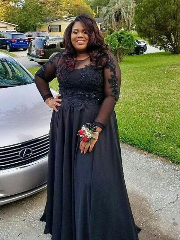 Black Sheer Neck Chiffon Floor-Length Prom Dresses