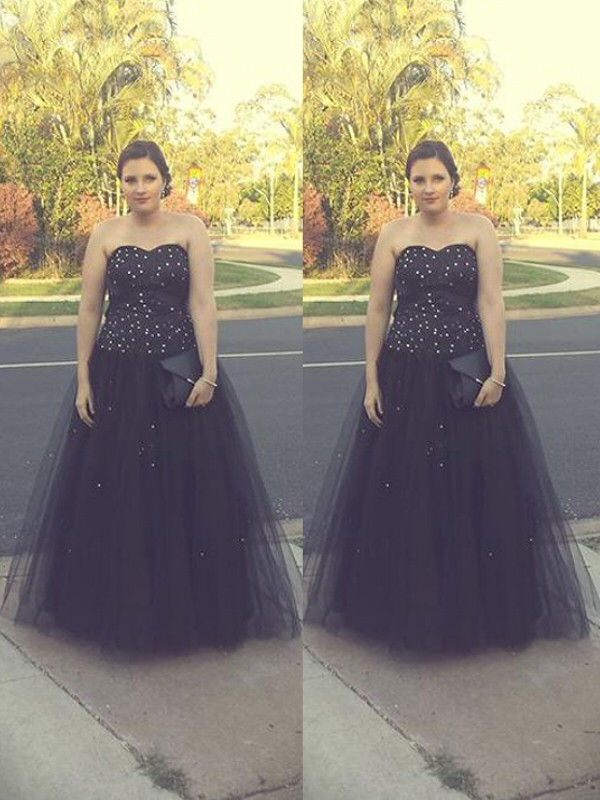 Ball Gown Sweetheart Floor-Length Black Prom Dresses