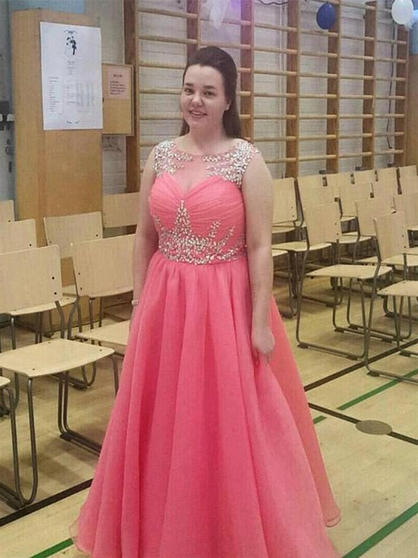 Sheer Neck Floor-Length Watermelon Prom Dresses with Beading