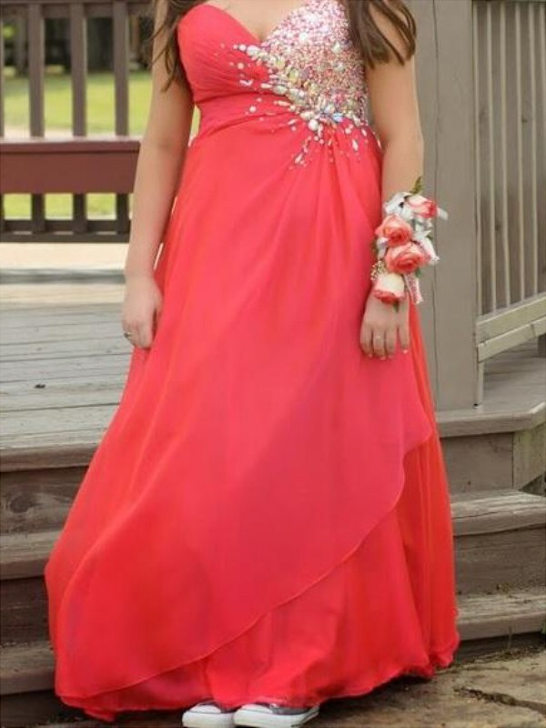 A-Line Chiffon Sweetheart Floor-Length Red Prom Dresses