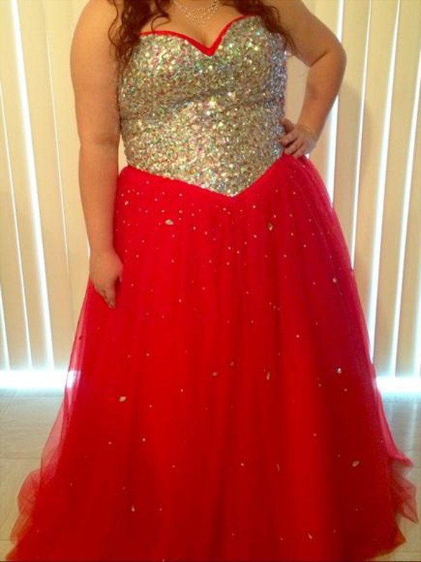 Tulle Sweetheart Floor-Length Red Prom Dresses