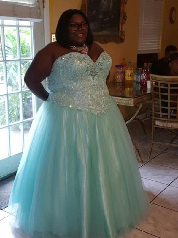 Light Sky Blue Ball Gown Sweetheart Floor-Length Prom Dresses with Beading