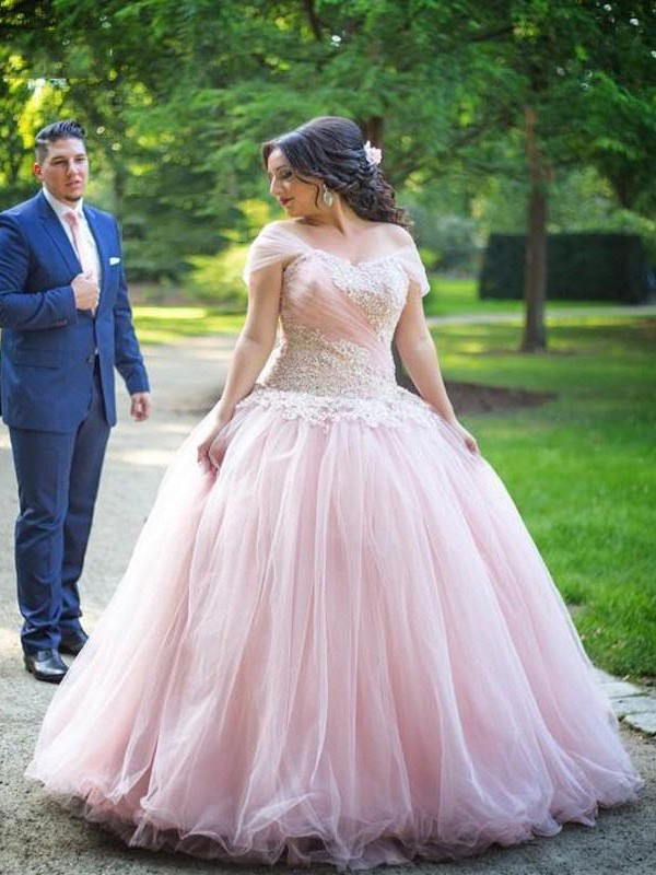 Ball Gown Tulle Off-the-Shoulder Floor-Length Pink Prom Dresses