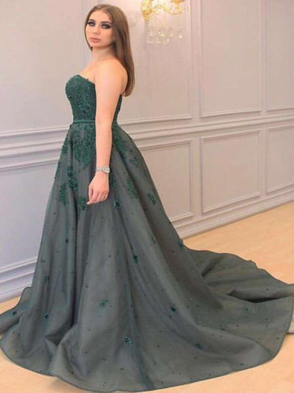 Tulle A-Line Court Train Sweetheart Dark Green Prom Dresses
