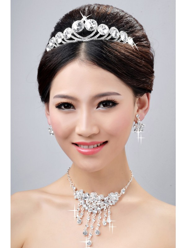New Style Elegant Alloy Clear Crystals Flower Wedding Party Earrings Set