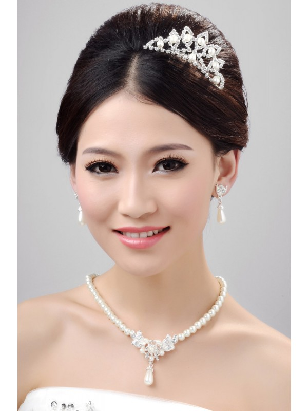 Nice Alloy Clear Crystals Pearl Wedding Party Earrings Set