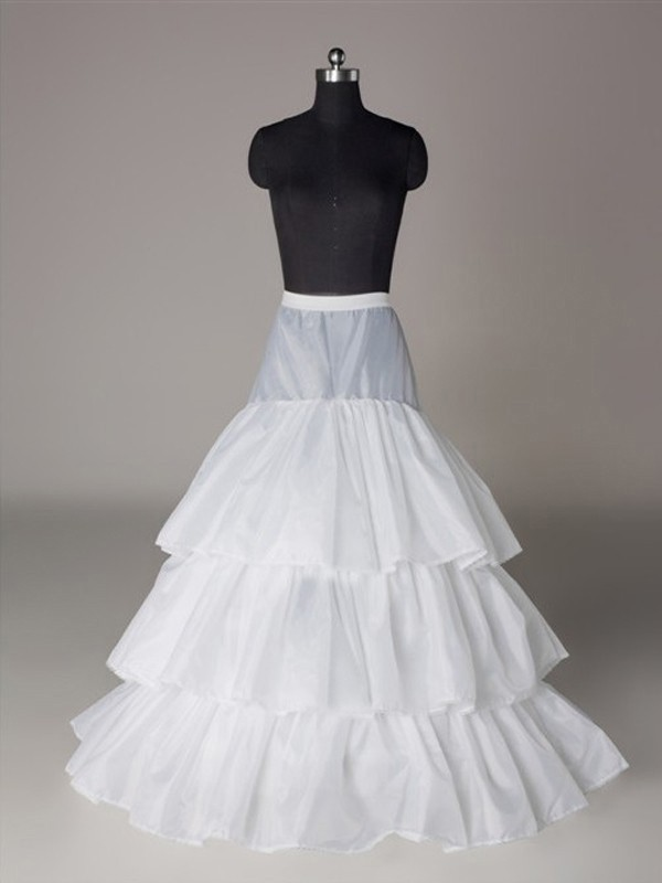 Nylon A-Line 3 Tier Floor Length Slip Style Wedding Petticoat