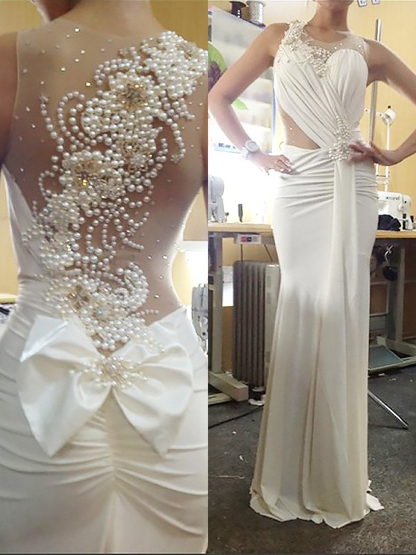 Mermaid Chiffon Scoop Brush Train White Prom Dresses