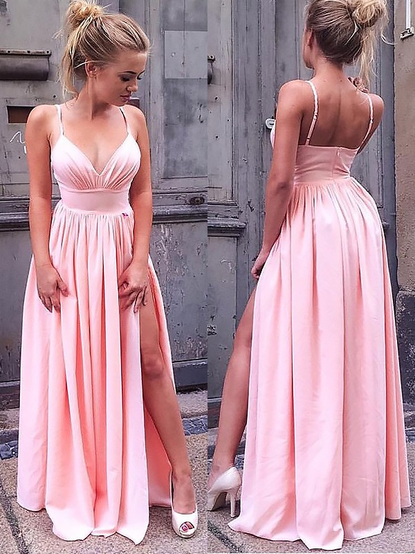 Chiffon Straps Floor-Length Pink Prom Dresses